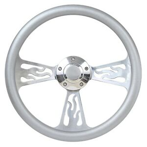 65 69 Ford Fairlane Mustang Flame Steering Wheel 14 Inch Aluminum With Silve