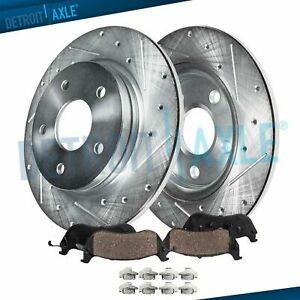 Rear Drilled Slotted Disc Brake Rotors Ceramic Pads 2011 2012 Chevy Impala