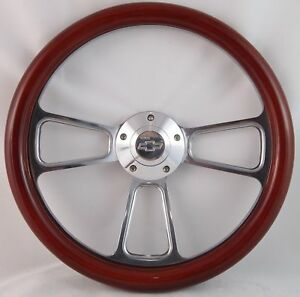 67 68 Chevrolet Chevelle El Camino 14 Wood Billet Black Steering Wheel Set