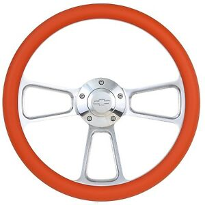Orange Steering Wheel 14 Inch Aluminum With Chevy Installation Adapter And Horn