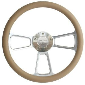 Chevy Steering Wheel Chrome Tan Wrap Chevy Horn Adapter Ships Free