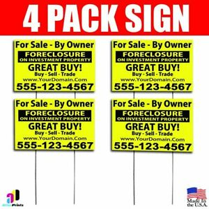 4x For Sale By Owner Signs Your Phone Number And Website Real Estate Marketing