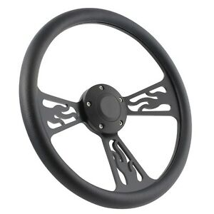 65 69 Ford Fairlane Mustang 14 Inch Black Flame 5 Hole Steering Wheel Black
