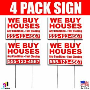 4x We Buy Houses Yard Bandit Signs Your Phone Number Real Estate Marketing
