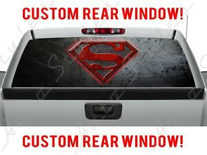 Superman Dc Comic Rear Ford Gmc Dodge Chevy Pickup Truck Perforated Window Decal