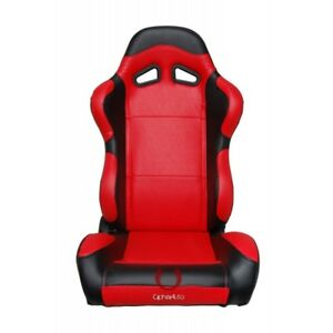 Cipher Auto Red black Carbon Fiber Leatherette Universal Racing Seats Pair New