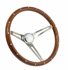 15 Deep Dish 3 Spoke Brushed Aluminum Steering Wheel Classic Vintage 3 Hole
