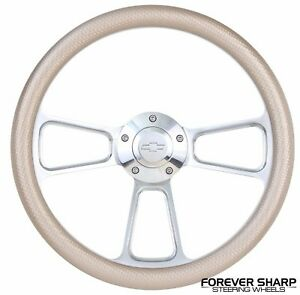 69 94 Gm 14 Champagne Muscle Steering Wheel W Billet Adapter Chevy Horn Kit