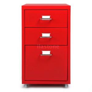 New 3 Drawers Sturdy Metal File Filing Cabinet Storage Office Essential Red A2k5