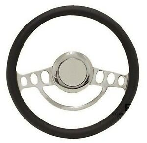 Chrome Amp Black Steering Wheel 14 For Flaming River Ididit Steering Col