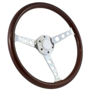 61 63 Ford Thunderbird 15 Wood Billet Polished steering Wheel Set adapter