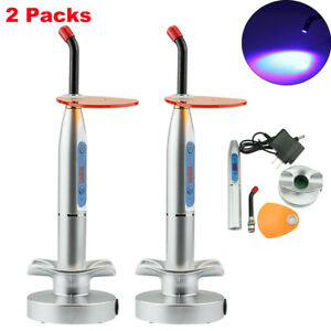 2packs New Dental 10w Wireless Cordless Led Curing Light Lamp 2000mw Silver Us