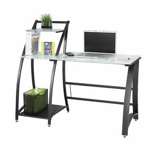 Safco Office Furniture Xpressions Tempered Glass Top Black Frame Computer Desk