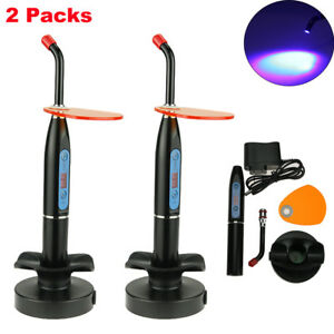 2 Packs New Dental 10w Wireless Cordless Led Curing Light Lamp 2000mw Black Us