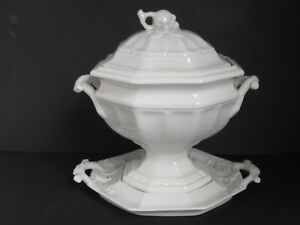 Antique White Ironstone Grape Pattern Tureen With Under Plate By Red Cliff