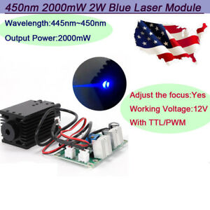 Focusable Ttl 2w 2000mw 445nm 450nm Blue Laser Module Engrave Cutter Burining Us