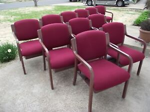 11pc Red Maroon Fabric Wood Sitting Office Church Dining Chairs With Book Shelf