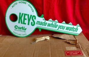 Vintage Curtis Key Sign Nos Never Hung Original Box And Chains Look