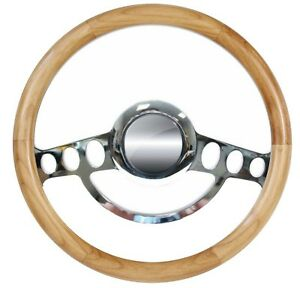 1932 Up Ford Truck With Gm Column Hot Rod Chrome Alder Wood Steering Wheel Kit