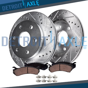 Front Drilled Slotted Disc Brake Rotors Ceramic Pads For 2006 2012 Kia Sedona