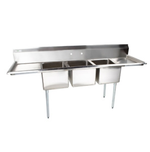 88 Commercial Stainless Steel Three Compartment Commercial Sink Drainboards