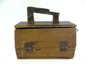 Antique Old Wood Wooden Homemade Mini Childrens Shoeshine Travel Box Container