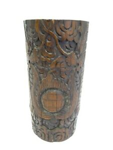 Antique Chinese China Carved Wood Decorative Artists Brush Holder Scholars Pot