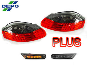 Depo Red Smoke Tail Led Bumper Side Marker Light For 97 04 Porsche Boxster 986