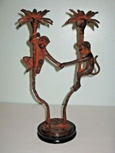 Petites Choses 2 Monkeys In Palm Trees Candle Holder Figurine