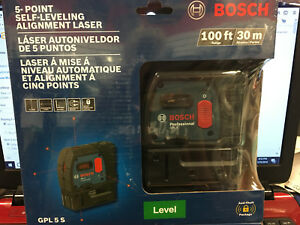 New Bosch 5 point Self leveling Alignment Laser Gpl 5 S 100ft 30m
