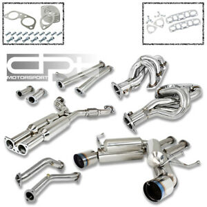 For Z33 V35 Catback Exhaust Muffler 4 5 Burnt Dual Tip Manifold Header Downpipe