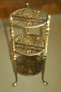 Vintage Art Nouveau Brass 3 Tier Plant Stand Table W Cherubs Claw Foot Feet