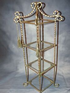 Vintage Brass Glass 3 Shelf Counter Top Display Stand Perfume Knick Knacks