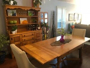 Conant Ball Mid Century Maple Dining Room Table Hutch