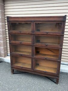 Antique Globe Wernicke Mission Oak Double 8 Door Barrister Bookcase