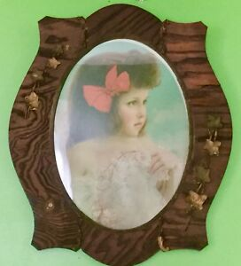 Large Antique Frame Gesso Decorated Wood Carved Oval Victorian Frame Carved