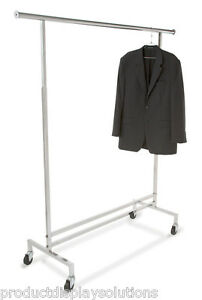 Single Rail Rolling Clothing Rack Garment Rack W wheels Chrome