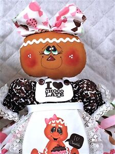 Primitive Raggedy 18 I Chocolate Gingerbread Doll Apron Candy Ornies