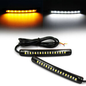 1pair Motorcycle 17led Flexible Strip Light Turn Signal Indicator White Amber