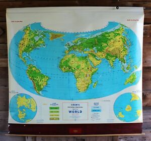 Huge Mid Century Vintage Crams Physical Political School World Map Wall Hanging