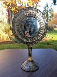 Vtg Tin Free Standing Table Vanity Mirror Mexico 13 5