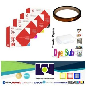 Sawgrass Ink Set Sg400 sg800 cmyk 100sh Dyesub Paper 1 Roll Heat Tape
