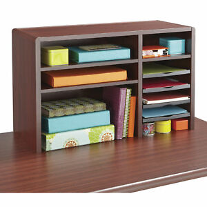 29 In W Mahogany Fixed Letter size Shelf 2 Shelves Compact Desk Top Organizer