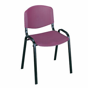 Polypropylene Seat Back Steel Frame Powder Coat Finish Stack Chairs qty 4