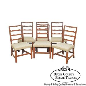 Kittinger Col Williamsburg Set 6 Mahogany Chippendale Ladder Back Dining Chairs