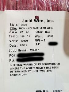 Judd Wire 22awg Ul 3239 High Voltage Hook up lead Wire 10kvdc 10 000v Red 100ft