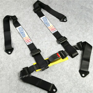 Universal 4 point Jdm Car Auto Racing Sport Seat Belt Safety Harness Strap Black