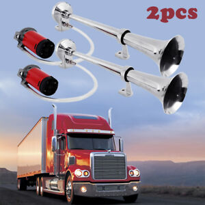 2x 150db Super Loud 12v Single Trumpet Air Horn Compressor For Truck Boat Train