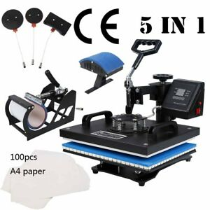 5 In 1 Heat Press Machine For T shirts Combo Kit Sublimation W Transfer Paper