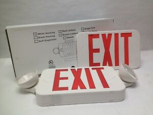 Rxel32rw Exit Sign Led Two Head Emergency Light Combo Double Face Nos